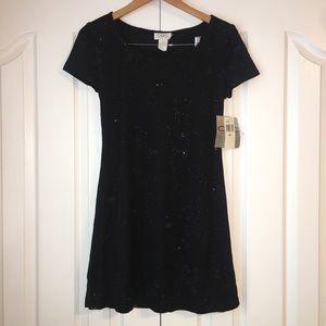 NWT CDC Petites Black Sequin Mini Dress Size 8